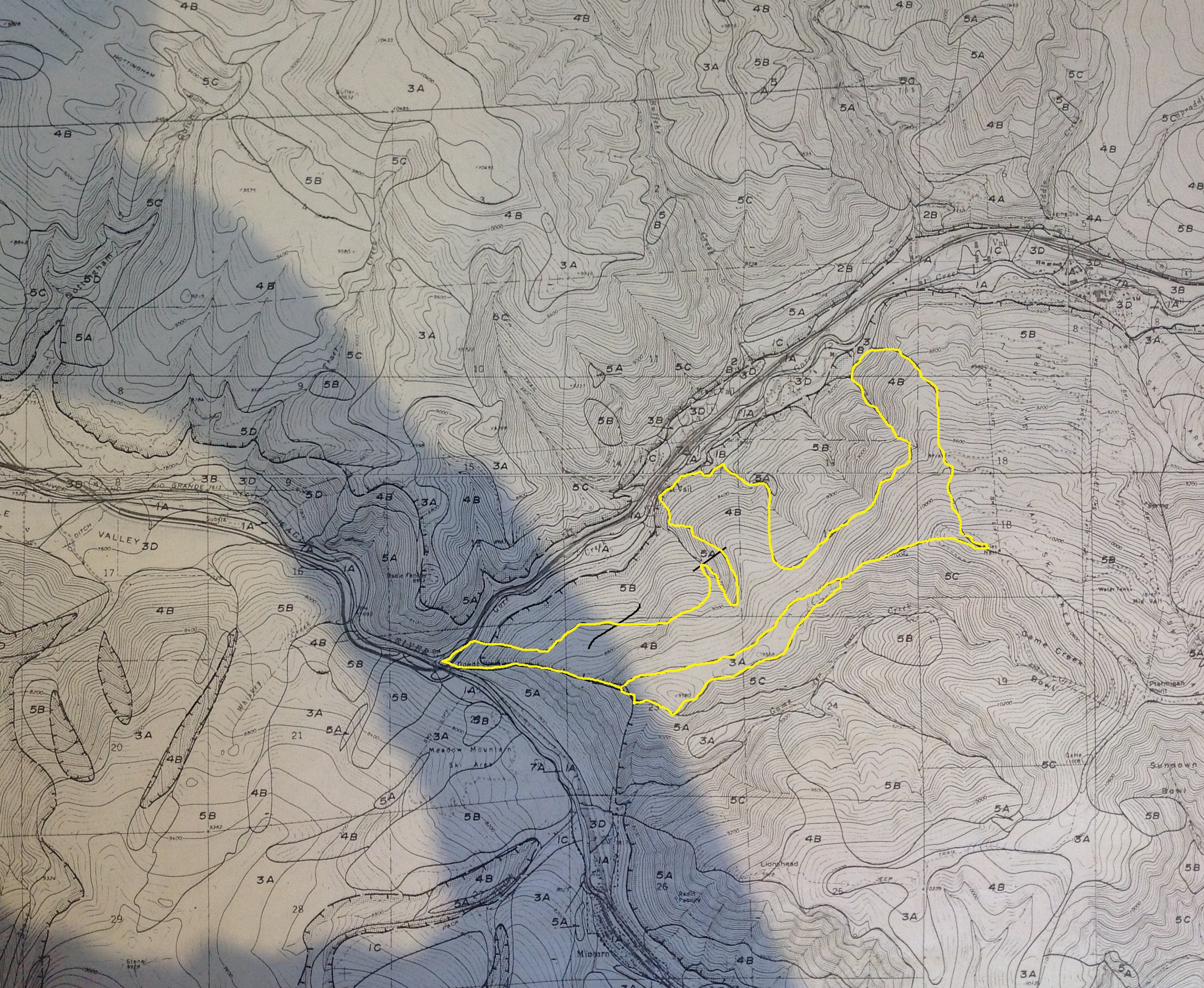 2-4-16 - West Vail Topo with Building Classification - 4A & 3A Outlined 2